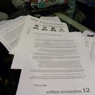 Photographie d'un document informatif concernant la WD12 au Parlement Européen